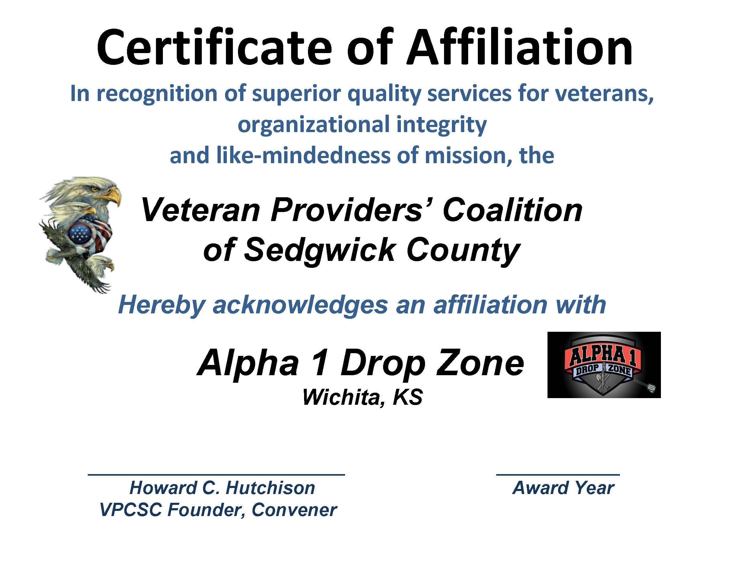 AFFILIATION CERT - ALPHA 1 DROP ZONE 2015