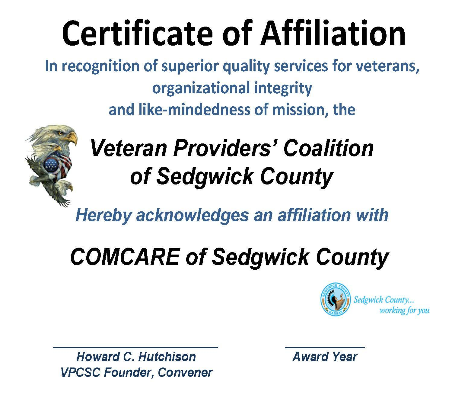 AFFILIATION CERT - COMCARE 2015