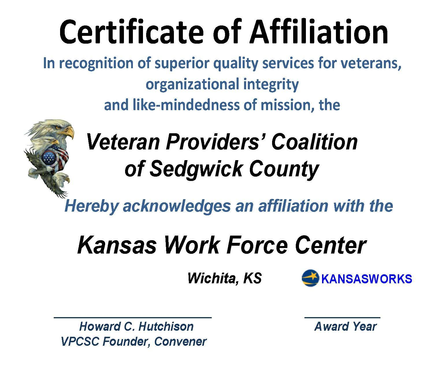 AFFILIATION CERT KANSAS WORKS 2015