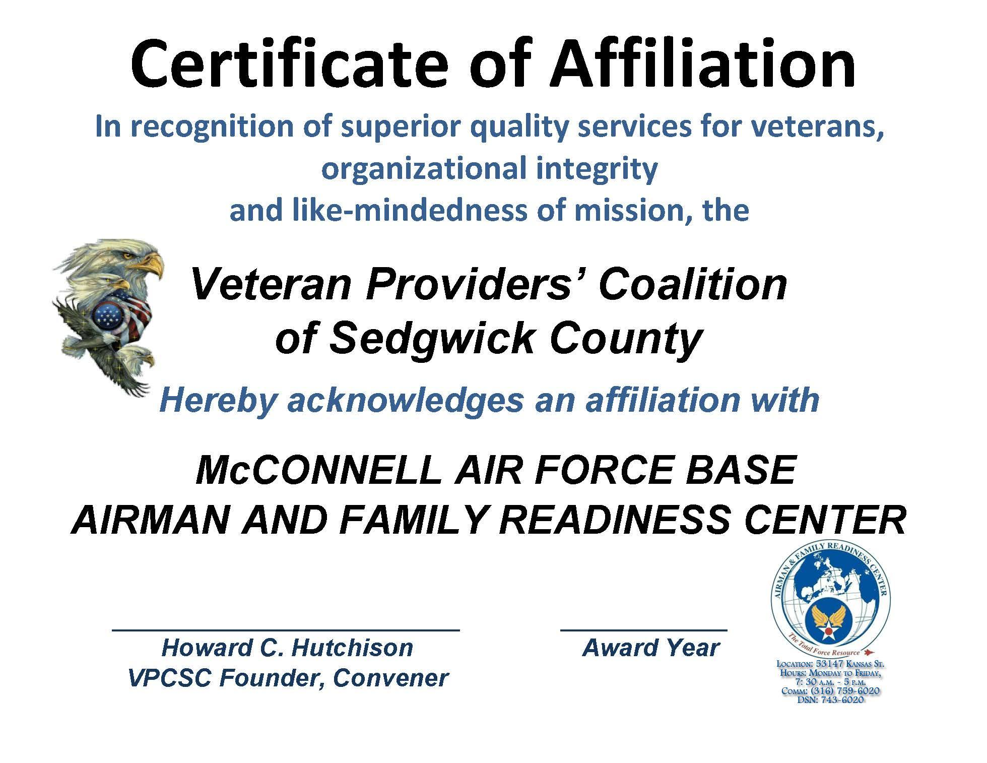 AFFILIATION CERT - McCONNELL AFB READINESS CTR 2015