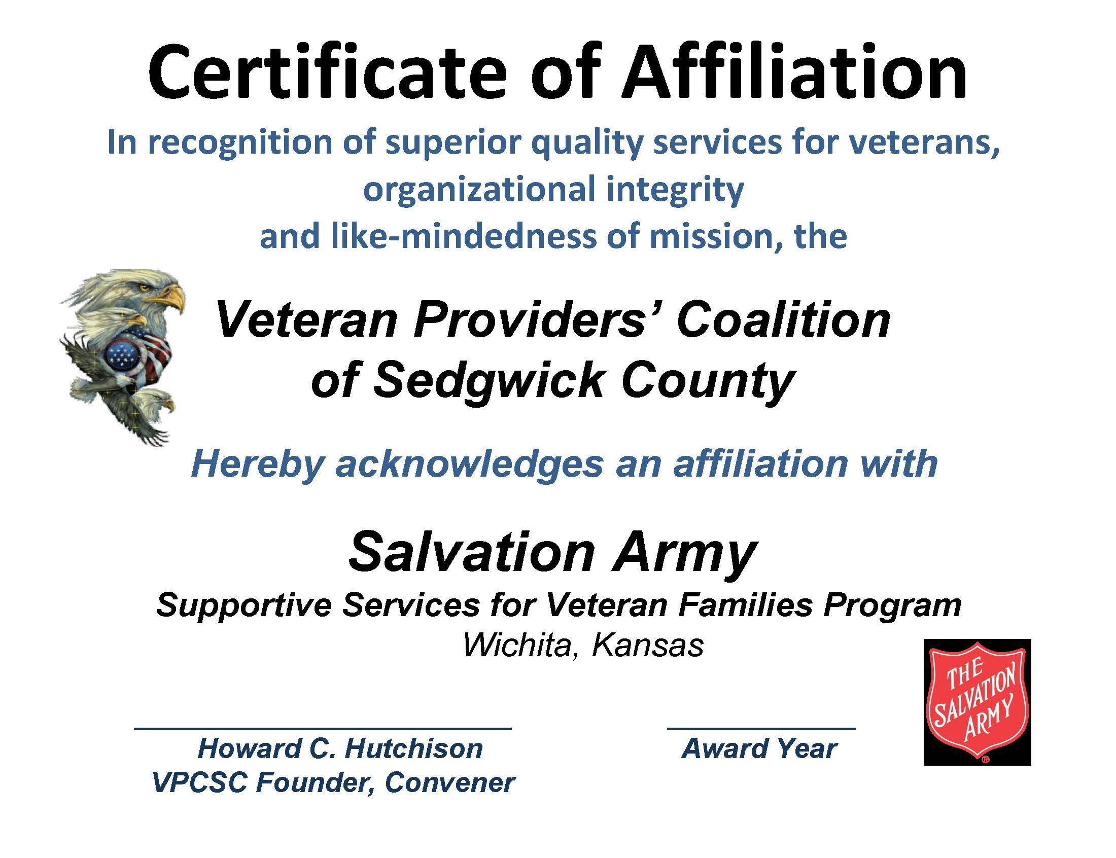AFFILIATION CERT SALVATION ARMY 2015