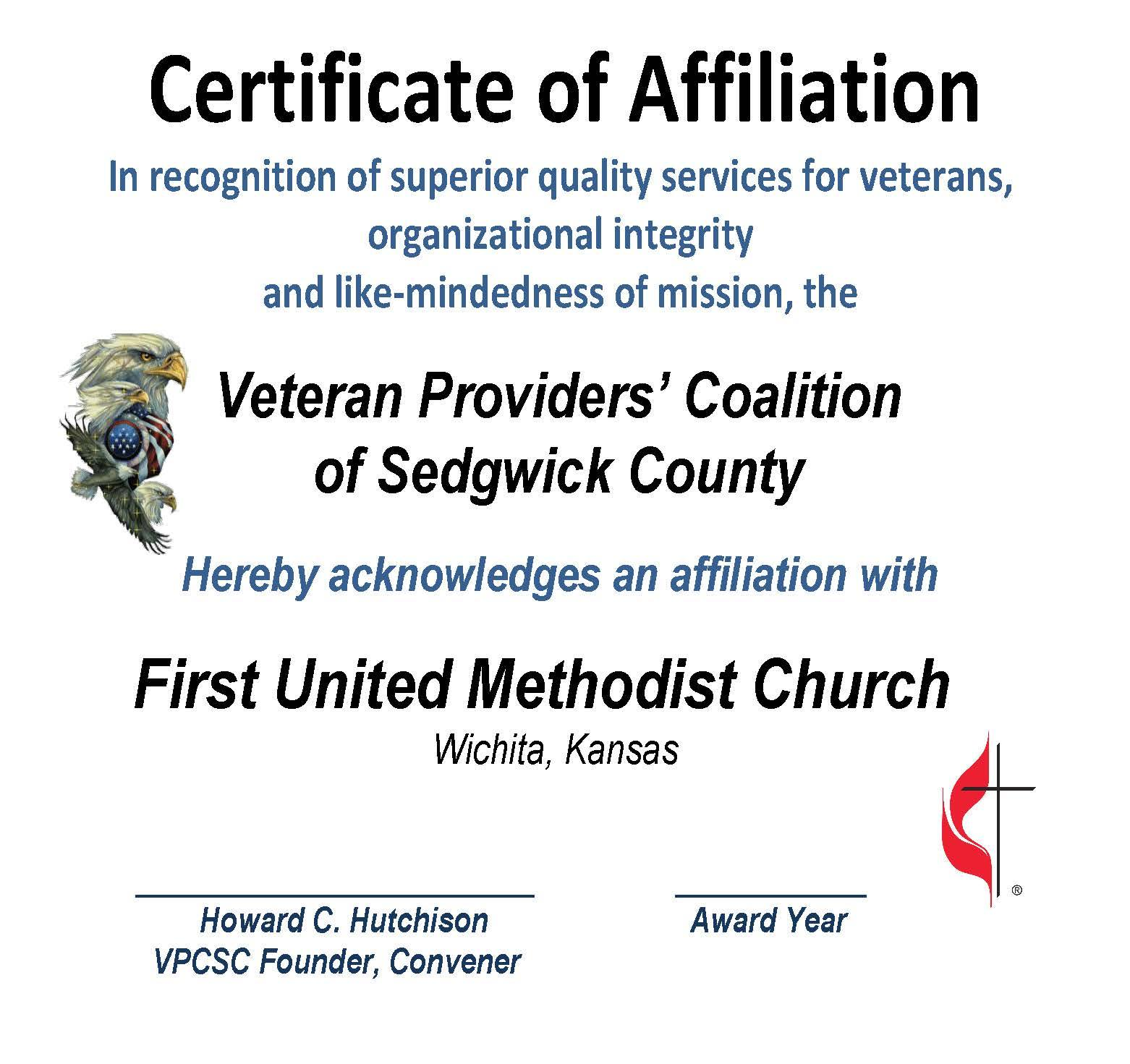 AFFILIATION CERT. 1st UMC 2015