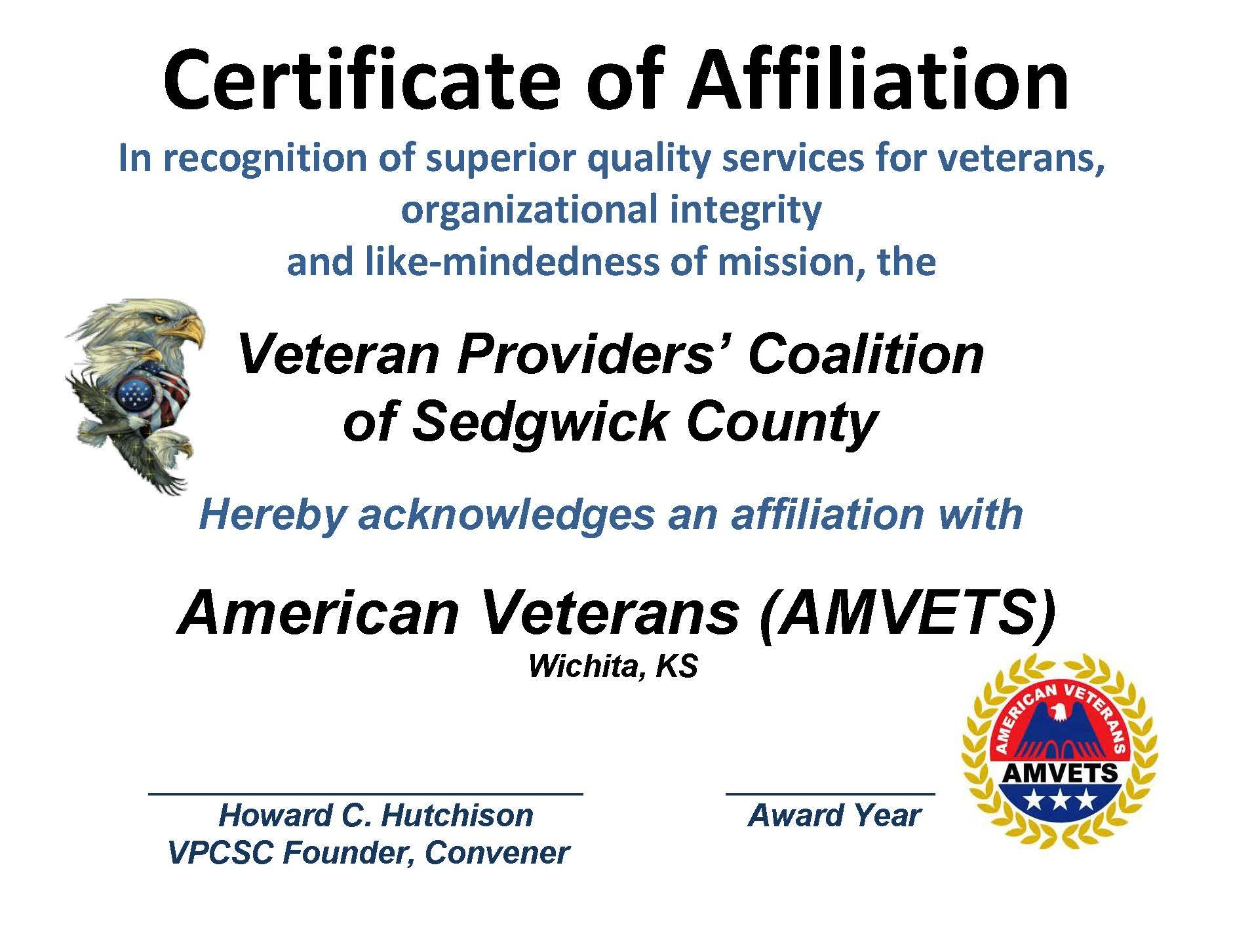 AFFILIATION - CERT. AMVETS 2015