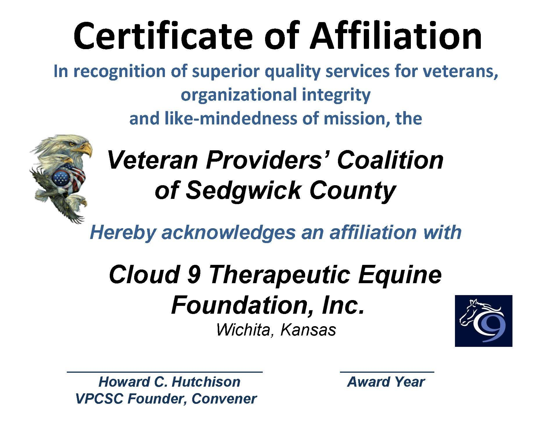 AFFILIATION CERT. CLOUD 9 2015