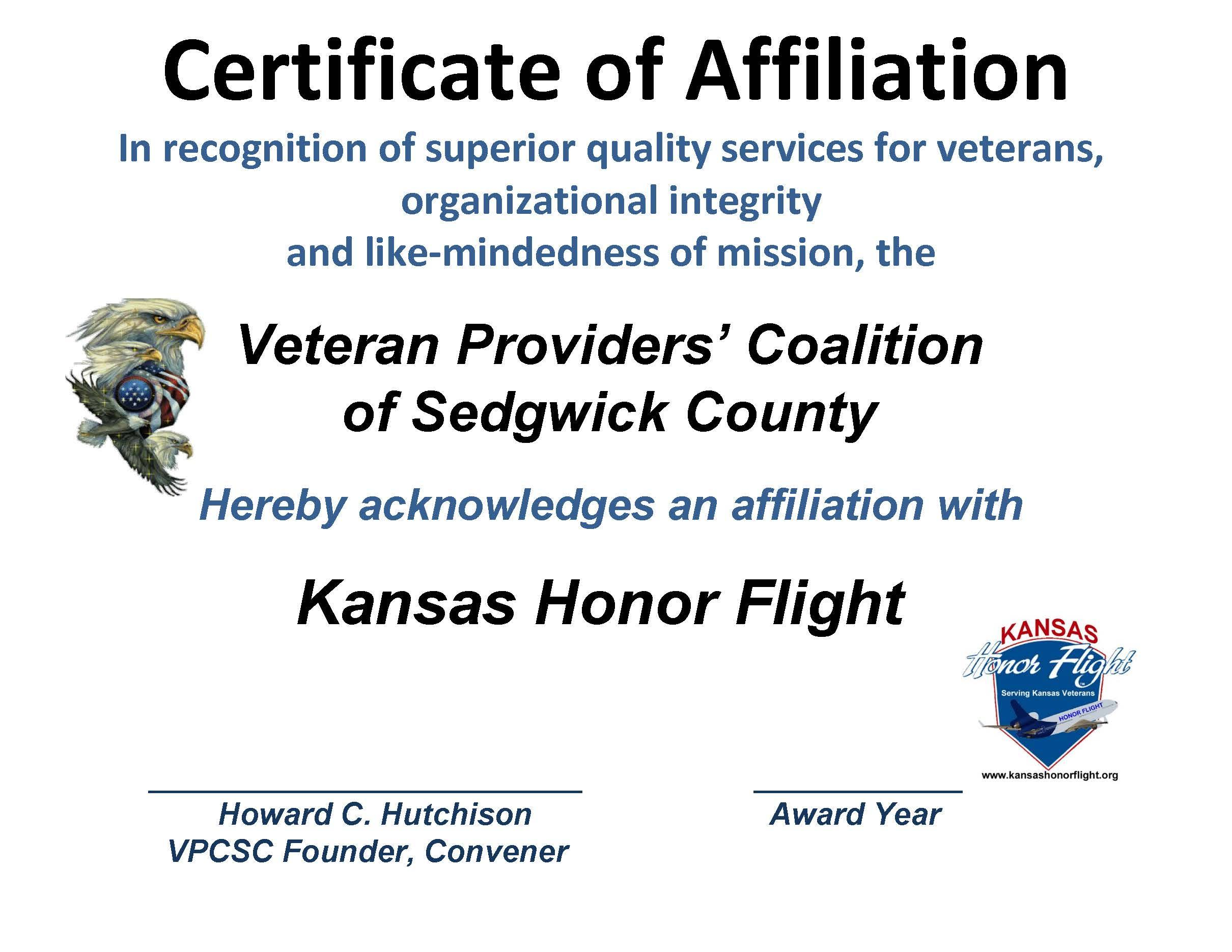 AFFILIATION CERT. KS HONOR FLIGHT 2015