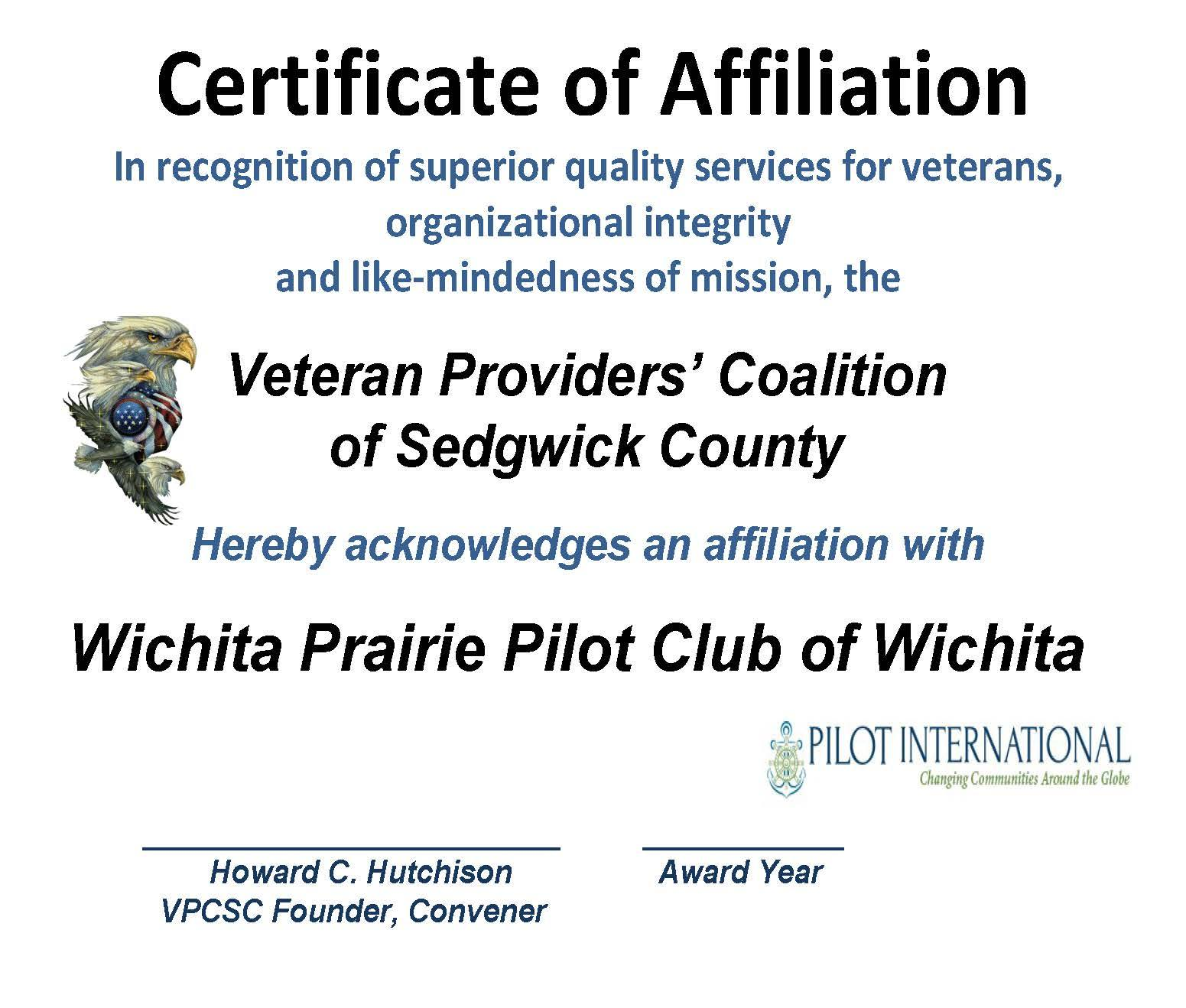 AFFILIATION CERT. PRAIRIE PILOT 2015