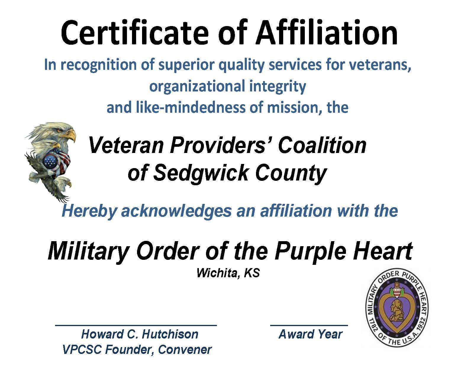 AFFILIATION - CERT. PURPLE HEART 2015