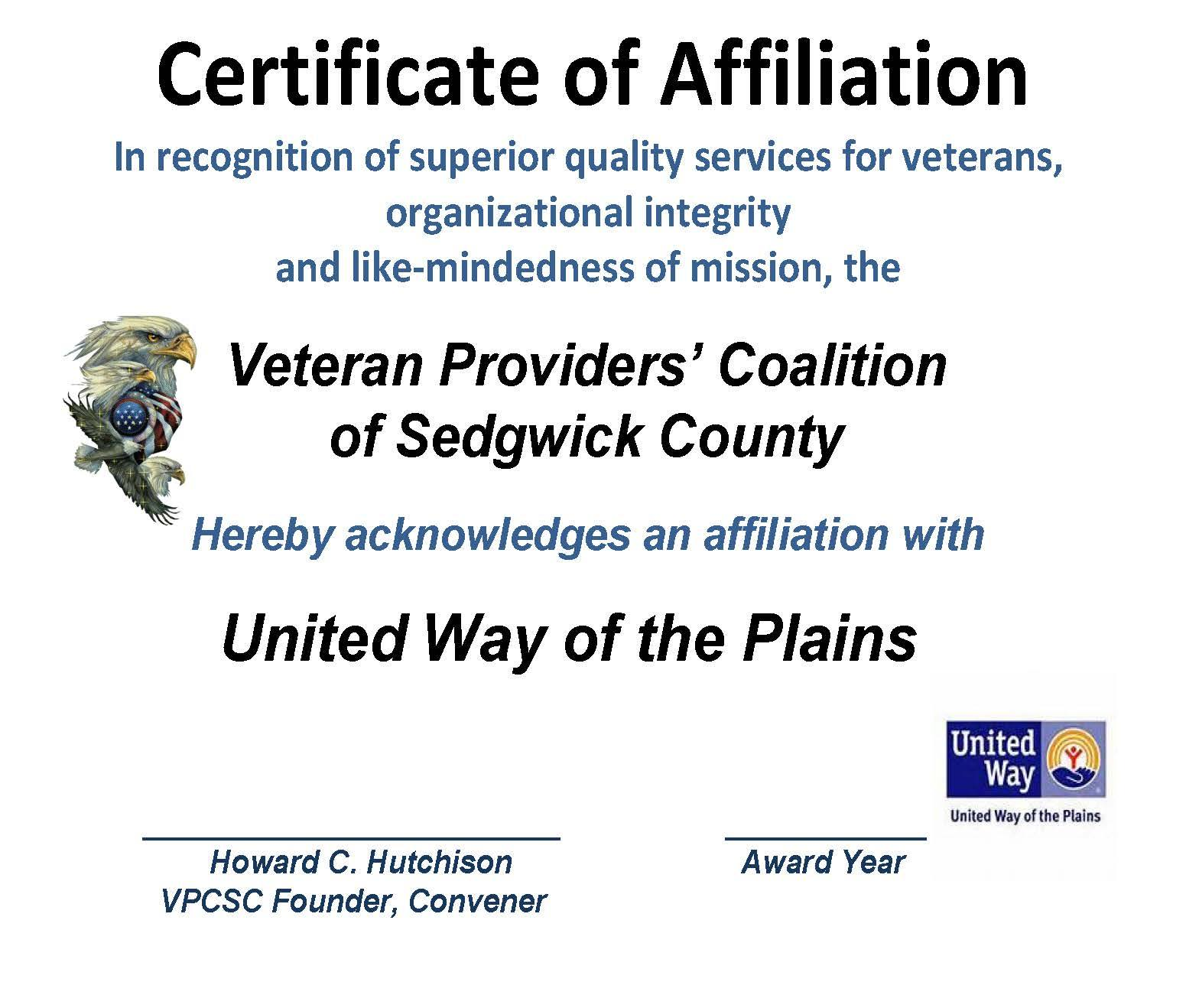 AFFILIATION CERT. UNITED WAY 2015