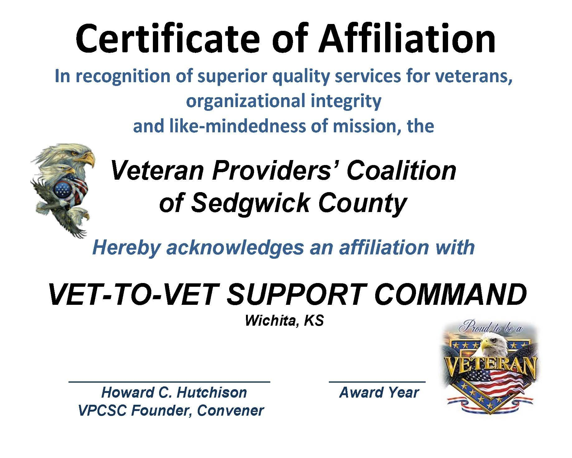 AFFILIATION - CERT. VET-T0-VET 2015