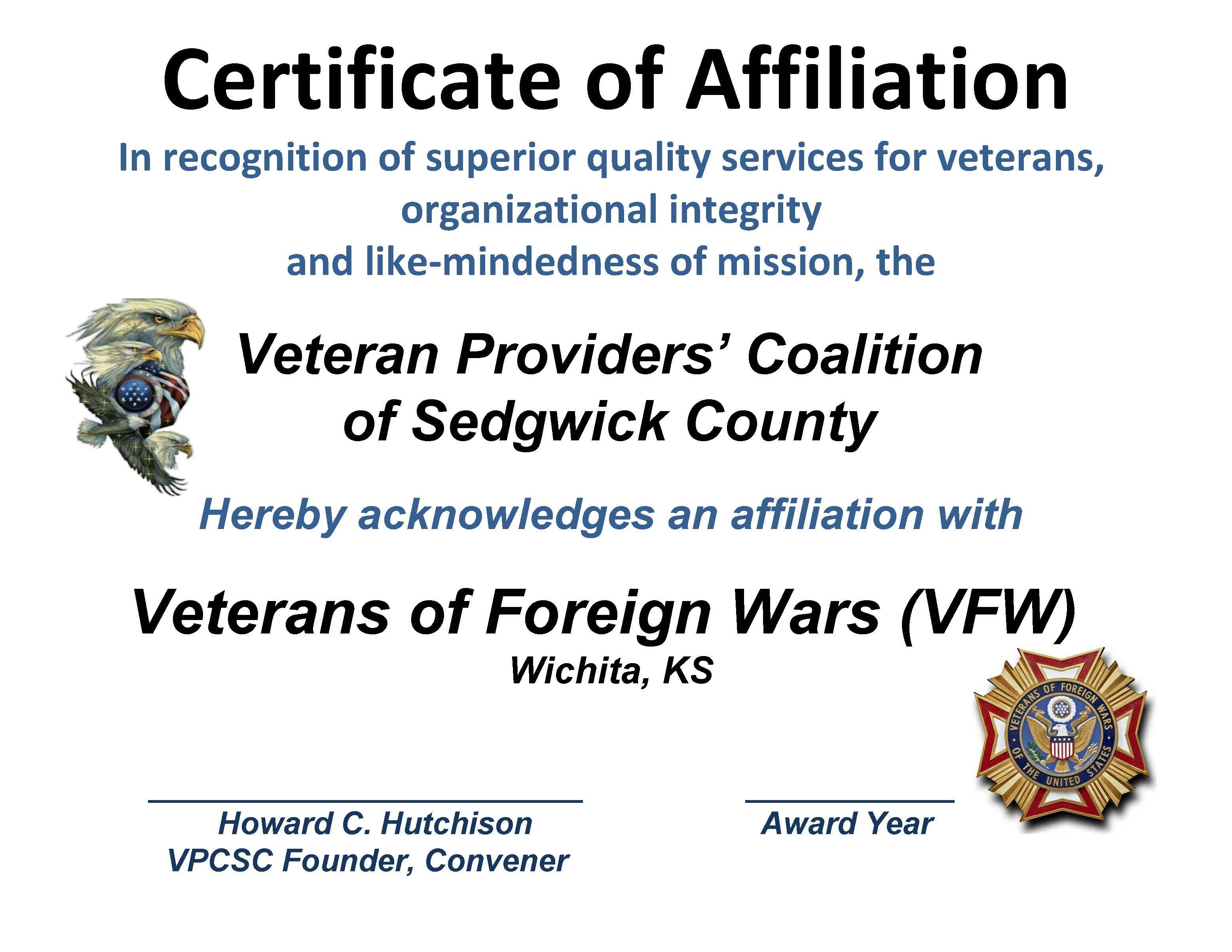 AFFILIATION - CERT. VFW 2015